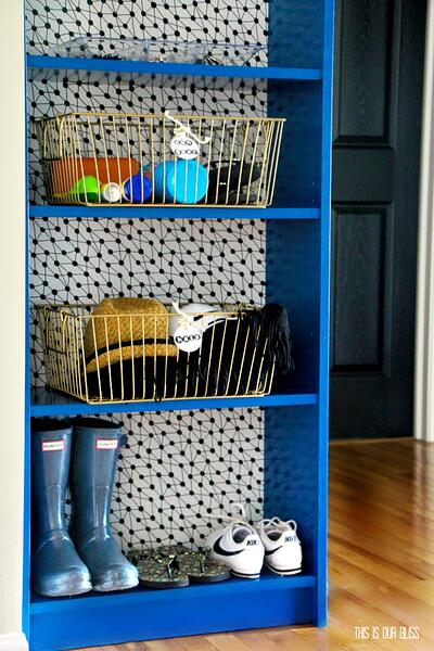 IKEA-Hack-Painted-Billy-Bookcase-with-removable-wallpaper-backing-in-mudroom-This-is-our-Bliss