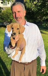 Sr LO Alan Robbins and Penelope the Dachsund — with Alan Robbins.