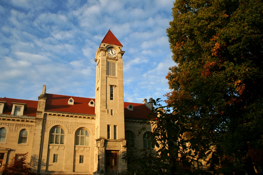 View of the clock tower at the nearby Indiana University - Bloomington campus.