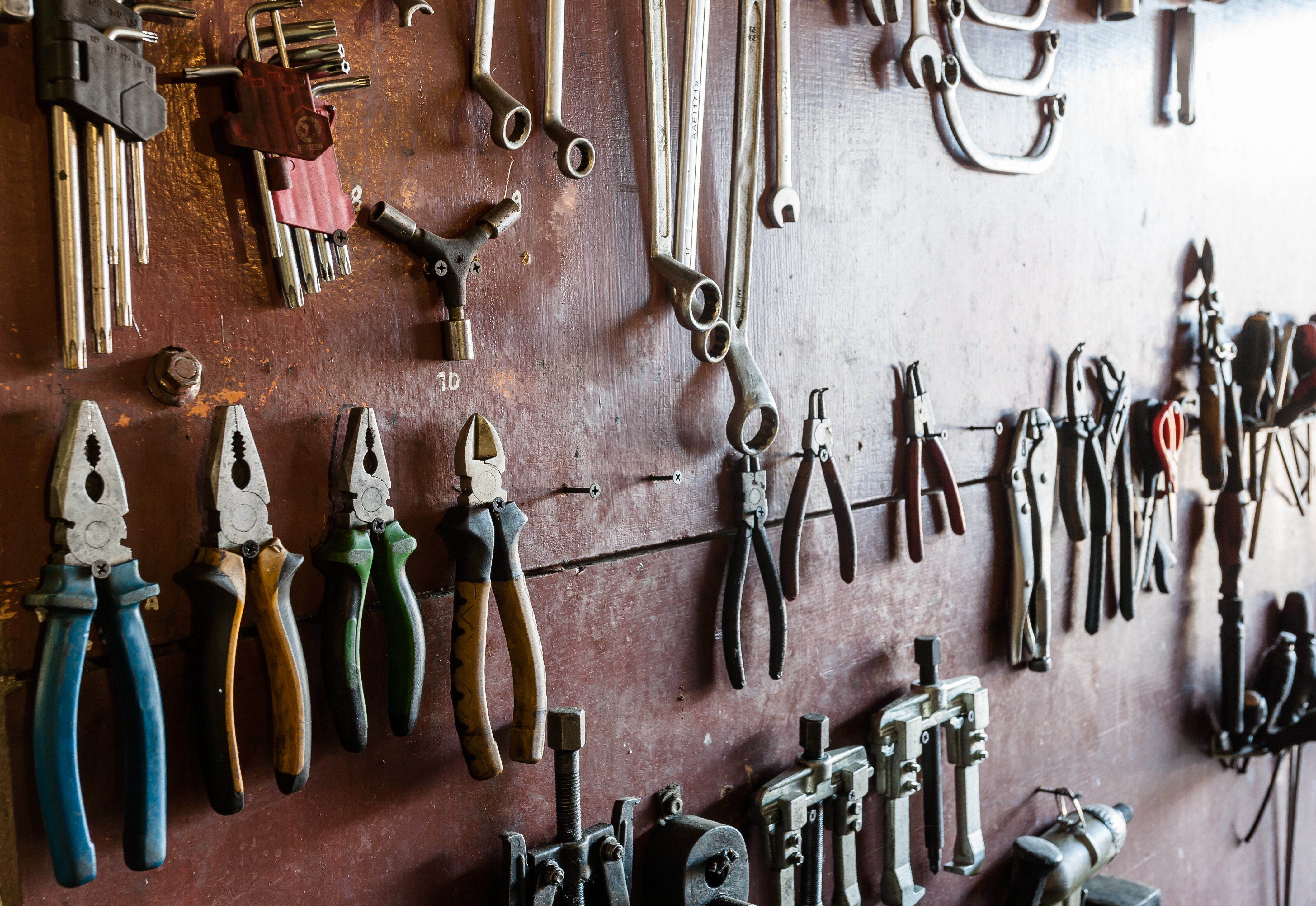 tools hanging on a wall